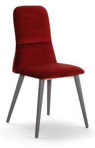 Corinne W, Chaise avec pieds en bois, dossier haut
