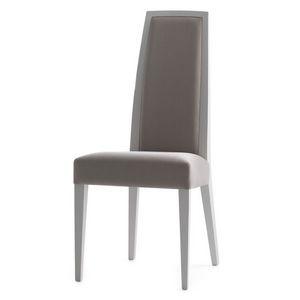 Erminio 00311, Chaise en bois massif, assise et dossier rembourrés, revêtement en tissu, pour l'usage de contrat