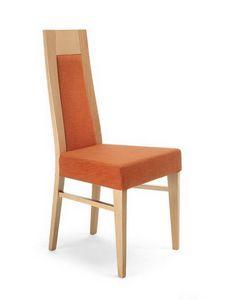 Eva I, Chaise en bois avec dossier haut, rembourré, pour la cuisine