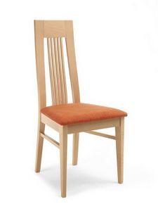Eva ST, Chaise en bois avec dossier haut avec des lattes verticales