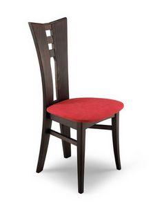 Genny, Chaise en bois moderne avec perforé dos, pour la cuisine