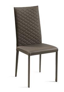 Jury haut matelassé, Chaise en cuir avec dossier matelassé