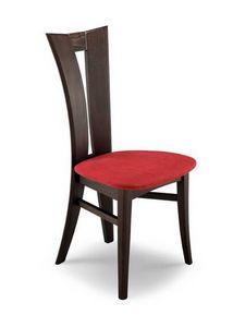 Lia 2, Chaise en bois, avec dossier avec trou vertical