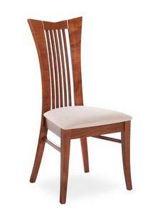 Lory, Chaise moderne à haut dossier avec des lattes verticales