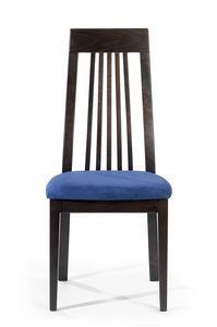 Roby A, Chaise à dossier haut avec lattes verticales