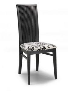 Siria V, Chaise avec assise rembourrée et dossier haut avec des lattes
