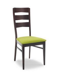 Vanessa L, Chaise avec base en bois et haut dossier, pour les cantines