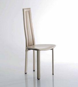 Vegas, Chaise avec structure en acier peint, sellerie cuir, disponible en différentes couleurs