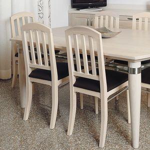 Alì 112, Chaise avec assise rembourrée, piètement en frêne blanchi