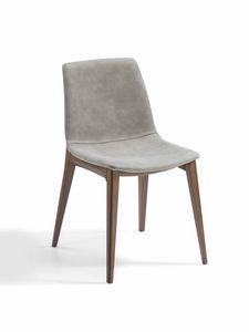 Bassano, Chaise rembourrée avec base en frêne