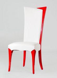 BS216S - Chaise, Chaise en faux cuir avec dossier haut