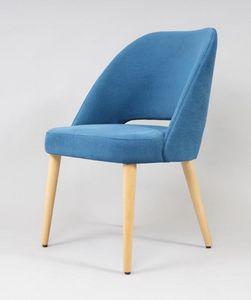 BS491A - Chaise, Chaise rembourrée avec pieds en hêtre