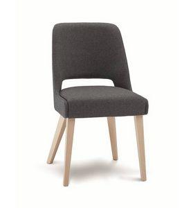 C65, Chaise rembourrée avec pieds en bois