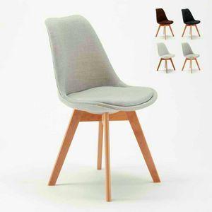 Chaise NORDICA PLUS en tissu de conception scandinave avec coussin pour cuisine et bar, Chaise rembourrée de style scandinave