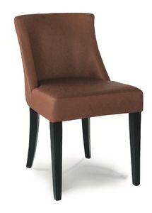 DALLAS S, Chaise rembourrée avec structure en bois verni