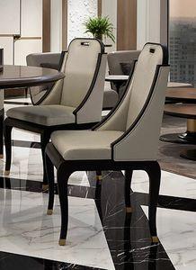 Dilan Art. D13, Chaise de salle à manger en cuir et tissu