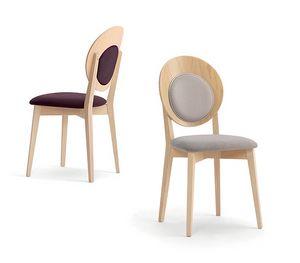 Eggy 10029, Chaise en bois avec dossier rond rembourré