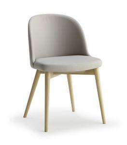 Emma, Chaise en bois avec assise et dossier rembourrés