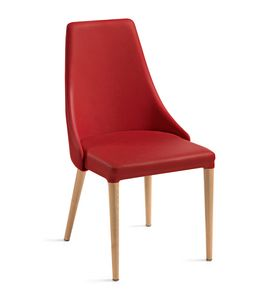 Evelin pieds en bois, Chaise avec dossier enveloppant