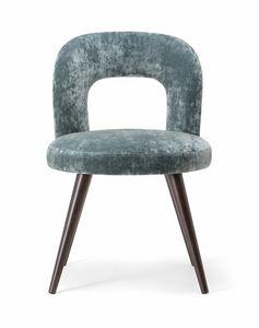 HOLLY SIDE CHAIR 065 S, Chaise avec pieds en bois massif et assise rembourrée