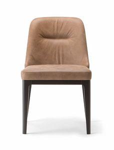 LOTUS SIDE CHAIR 063 S, Chaise rembourrée avec pieds en bois