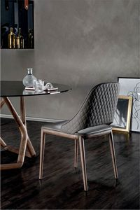 MALVA ÉLITE, Chaise avec cadre en bois et motif losange au dos