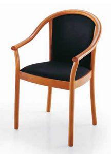 Manuela, Chaise avec accoudoirs rembourrés, à usage contractuel