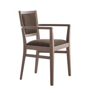 MP472GP, Chaise confortable avec accoudoirs, en bois rembourré