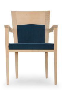 Nico PLUS ARMS, Chaise rembourrée avec accoudoirs, avec structure en bois