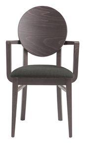 PL 49/W, Chaise en bois peinte avec accoudoirs