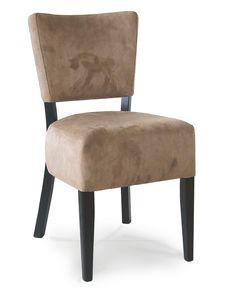 PORTOCERVO S, Chaise en bois avec assise rembourrée