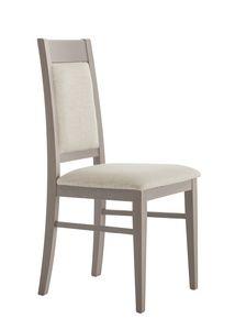 SE 490/A, Chaise en bois avec dossier et assise rembourrés