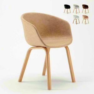 Sedia In Metallo Legno Tessuto Per Cucina Bar Scandinavo KOMODA, Chaise rembourrée
