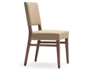 Selene-S1, Chaise avec structure en bois, rembourrée