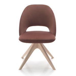 Vivian chair, Chaise rembourrée avec base en bois