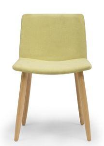 Web, Chaise avec pieds en bois et coque rembourrée