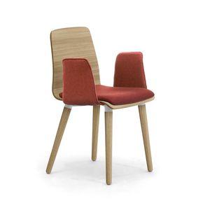 Zerosedici Wood 4GL, Chaise en bois avec accoudoirs rembourrés et siège