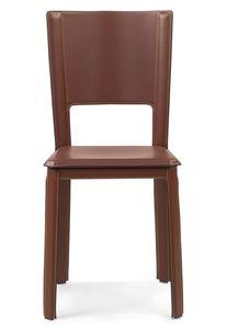 Alex 2.0 chaise 10.0001, Chaise en cuir, avec dossier haut