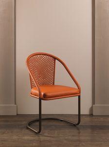 DOMINO HF2076CH, Chaise en fer recouverte de cuir