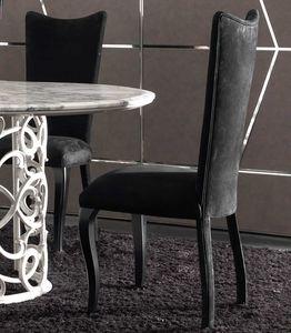 Eva Art. 646, Chaise de salle à manger en cuir avec dossier haut