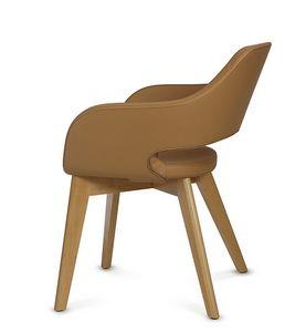 NUBIA 2208, Chaise en cuir avec pieds en bois