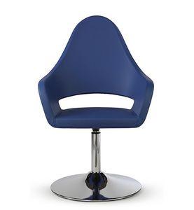 NUBIA 2301, Chaise en cuir sur base chromée