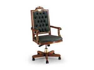 CARLO MAGNO office 8089A, Chaise de bureau de luxe en cuir, dossier matelassé