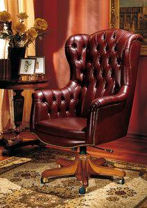 IMPERO / HOME OFFICE Armchair President, Chaise classique Bureau, en cuir, avec des roues