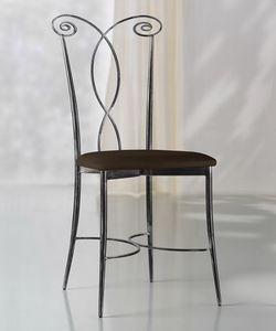 Chaise Klimt, Chaise en métal, assise en cuir, pour le côté extérieur