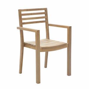 Dehors 0345, Chaise empilable en bois, pour une utilisation en extérieur