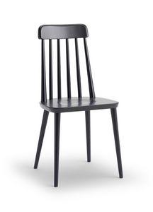 FARM, Chaise en bois de hêtre, avec dossier de lattes verticales