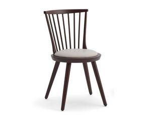 Isolda-S, Chaise en bois avec assise ronde rembourrée