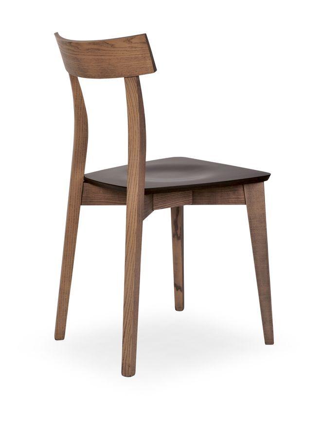 Lola, Chaise en bois de hêtre pour restaurants et bars