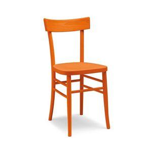 Milano fuselli, Chaise avec ligne simple, entièrement en bois, des couleurs différentes